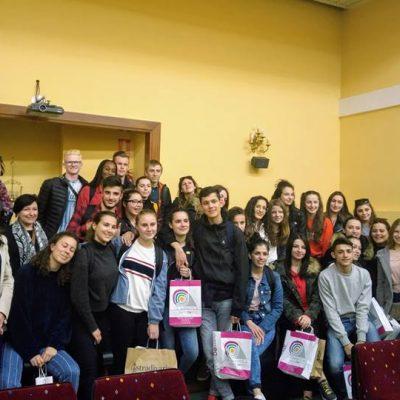 Recepción en el Ayuntamiento de Lucena al alumnado y profesorado del intercambio con Francia.