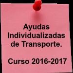 Ayuda individualizada de Transporte curso 2016-2017