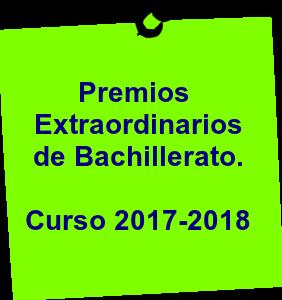 Premios Extraordinarios de Bachillerato. Curso 2017-2018