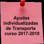 Ayudas Individualizadas de Transporte del curso 2017-2018