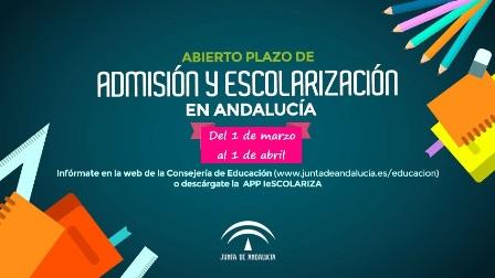 Abierto el plazo de admisión y escolarización para el curso 2019/2020