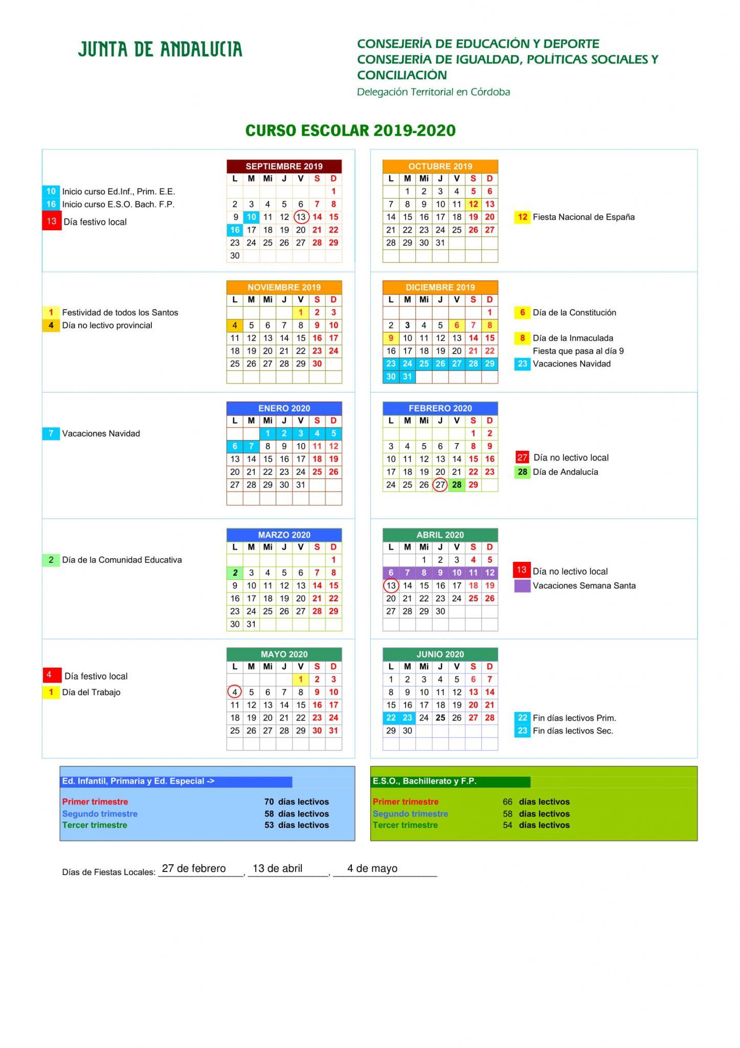 Calendario Escolar 2019 20 Para Imprimir