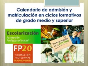 Segunda adjudicación de ciclos formativos de grado medio y superior en oferta completa para el curso 2020/21